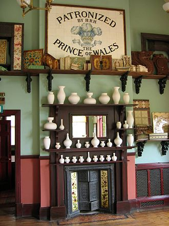 Jackfield - Display of tiling and other ceramics inside the Jackfield Tile Museum.