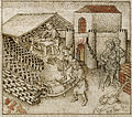 Israelites making bricks - Flemish Bible History (mid 15th C), f.78v - BL Add MS 38122.jpg
