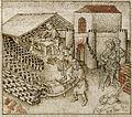 Israelites making bricks - Flemish Bible History (mid 15th C), f.78v - BL Add MS 38122.jpg