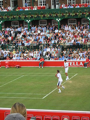 Mario Ančić - Goran Ivanišević and Mario Ančić playing doubles during the 2004 Queen's Club Championships