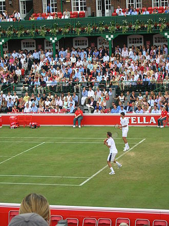 Goran Ivanišević - Goran Ivanišević and Mario Ančić playing doubles during the 2004 Queen's Club Championships.