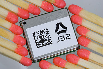 A typical OEM GPS receiver module measuring 15 mm x 17 mm (0.6 in x 0.7 in) J32 1 small.jpg