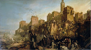 "Mulay - ""Jacques Molay takes Jerusalem, 1299"", a painting created in the 1800s by Claudius Jacquand, and hanging in the ""Hall of Crusades"" in Versailles. In reality, though the Mongols may have been technically in control of the city for a few months in early 1300 (since no other troops were in the area), De Molay was almost certainly on the island of Cyprus at that time, nowhere near the landlocked city of Jerusalem, and there is no record of any major battle for Jerusalem in 1299."