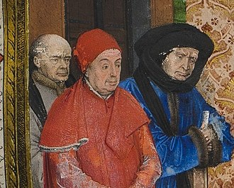 Jean Wauquelin presenting his 'Chroniques de Hainaut' to Philip the Good - Left to right: Simon Nockart, Secretary of the province of Hainaut, Jean Chevrot, Bishop of Tournai, and Nicolas Rolin, Chancellor of the Duke of Burgundy.
