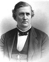 Back and white drawing of a white man wearing a white shirt, dark bow tie, and dark jacket and vest