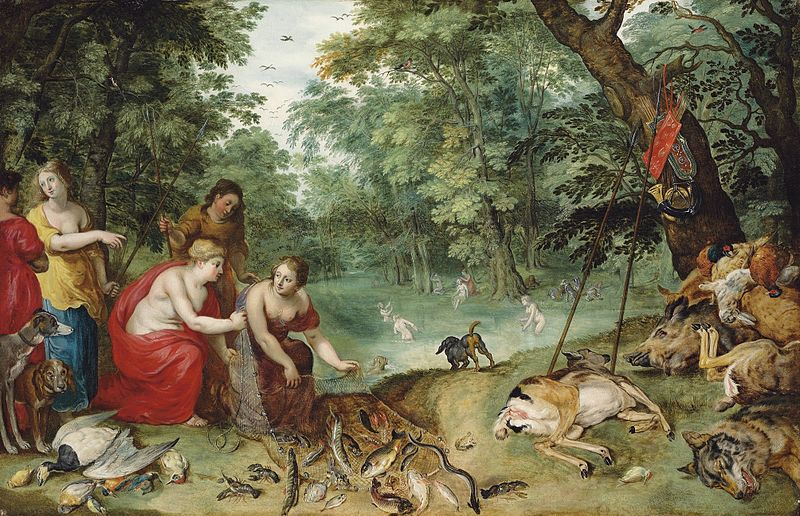 File:Jan Breughel (II) & Hendrick van Balen (I) - An Allegory of the Elements, earth, air and water Diana and her Nymphs after the Chase.jpg