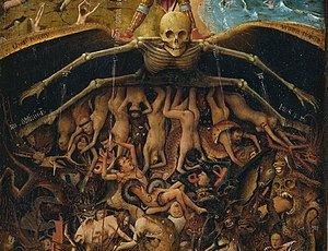 Crucifixion and Last Judgement diptych - A personification of death spreads its skeletal wings over the fallen and damned, a number of whom can be identified by their headdress as members of the clergy.