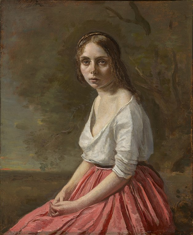 https://upload.wikimedia.org/wikipedia/commons/thumb/0/05/Jean-Baptiste-Camille_Corot_-_%27Young_Woman_in_a_Pink_Skirt%27%2C_c._1845%E2%80%9350.jpg/627px-Jean-Baptiste-Camille_Corot_-_%27Young_Woman_in_a_Pink_Skirt%27%2C_c._1845%E2%80%9350.jpg
