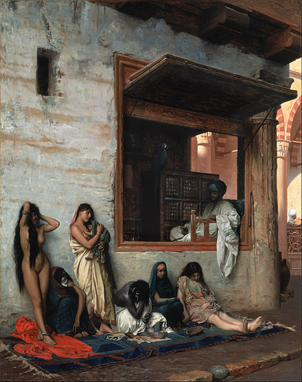 Barefooted oriental slaves Jean-Leon Gerome - The Slave Market Jean-Leon Gerome - The Slave Market - Google Art Project.jpg