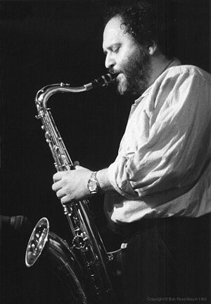 1937 in jazz - Saxophonest Joe Farrell in performance at Lush Life in New York, 1985. Photograph by Bob Rosenbaum