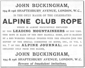 Alpine Club (UK) - Advert in Whymper's Guides Advertiser in 1897.