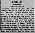 John Cashow (1817-1899) obituary in The Standard Union of Brooklyn, New York on 20 September 1899.jpg