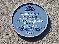 John logie baird blue plaque, bexhill on sea