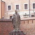 John Paul II statue at Wawel Cathedral.JPG