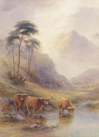 "John Stinton - ""Highland cattle in a stream"""