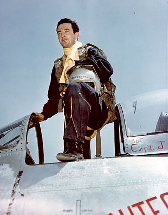 Joseph C. McConnell - McConnell with his F-86, Beauteous Butch II, following his last mission in Korea