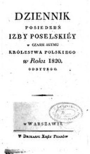 Sejm of Congress Poland - Image: Journal of debates