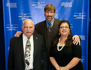 Nicholas Academic Centers - NAC Co-founder/Executive Director, Judge Jack Mandel, Co-Founder Dr. Henry T. Nicholas, and Assistant Director Corina Espinoza, 2010 Thanksgiving Celebration at the Nicholas Academic Centers.