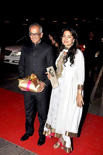 Juhi Chawla - Chawla with husband Jay Mehta at Karan Johar's 40th birthday bash at Taj Lands End