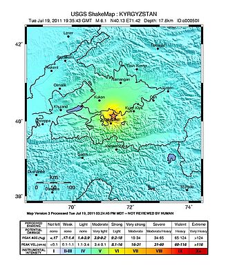 2011 Fergana Valley earthquake - USGS ShakeMap of the earthquake
