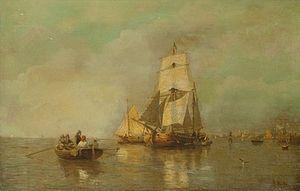 Julius Huth - Scène de bateau le long des côtes.jpg