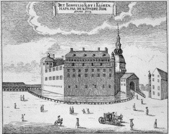 Copenhagen Castle - Copenhagen Castle seen on  illustration from Peder Hansen Resen's Atlas Danica