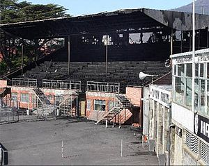 KGV Oval - The destroyed original Cresswell-Beakley Stand, opened in 1962 at KGV