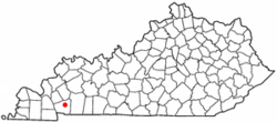 Location of Cadiz, Kentucky
