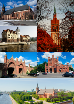 "Church of the Holy Family; Königsberg Cathedral; ""Fishermen's village"" in pseudo-historic style; Brandenburg Gate; King's Gate; Pregolya River"