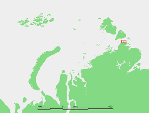 Cape Chelyuskin - Location of Cape Chelyuskin at the northern end of the Taymyr Peninsula