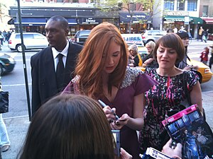 "Amy Pond - Gillan signing autographs at the US premiere of ""The Eleventh Hour"""