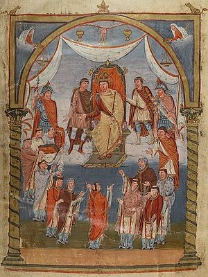 Presentation miniature - Charles the Bald receives the Vivian Bible from the monks of Tours in 845 (fol. 423)