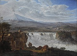 Karl Gotthard Grass: The Caracci Waterfall Near Aderno at the Foot of Mt. Etna