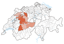 Map of Switzerland, location of ایالت برن highlighted