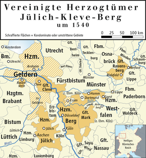 United Duchies of Jülich-Cleves-Berg - Map of Jülich-Cleves-Berg including the province of Gelderland (around 1540)