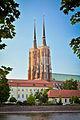 Katedra św. Jana Chrzciciela we Wrocławiu - widok z bulwaru z drugiej strony Odry.jpg