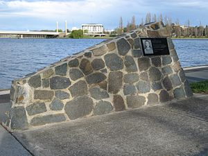 Royal Canberra Hospital implosion - Memorial to Katie Bender, killed by the debris from the implosion
