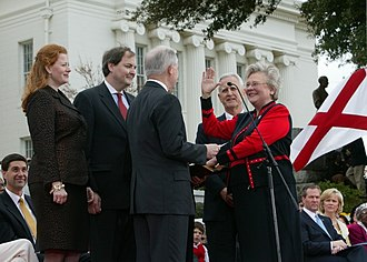 Kay Ivey - Ivey is sworn into a second term as State Treasurer by Jeff Sessions in 2007