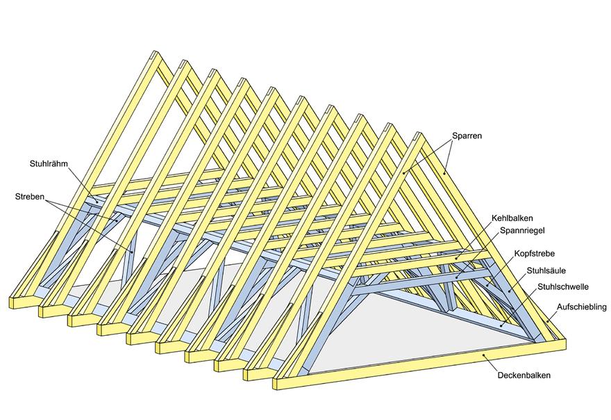 darstellung der dachkonstruktion eines historischen. Black Bedroom Furniture Sets. Home Design Ideas
