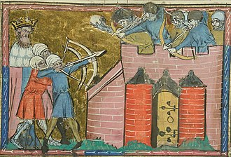 Battle of Antioch (1098) - An illustration of Kerbogha besieging Antioch, from a 14th-century manuscript in the care of the Bibliothèque nationale de France