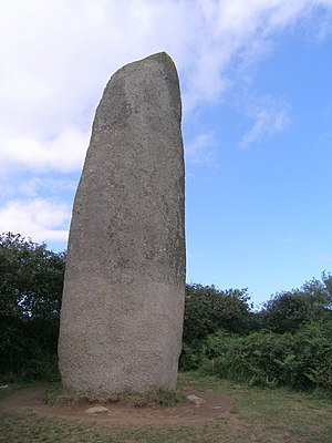 Prehistory of Brittany - The Kerloas Menhir, near Plouarzel. With a height of 9.5 metres this menhir is the tallest standing menhir in Brittany. A few centuries ago the top was knocked off in a thunder storm: originally it must have been over 10 metres high.