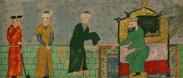 Правитель государства Ильдегизидов Кызыл-Арслан принимает Низами Гянджеви. Миниатюра из рукописи 1481 года, Художественный музей Уолтерса