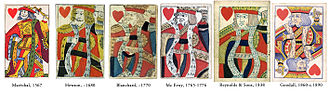 King (playing card) - Evolution of the King of Hearts from the Rouennais pattern to the English pattern