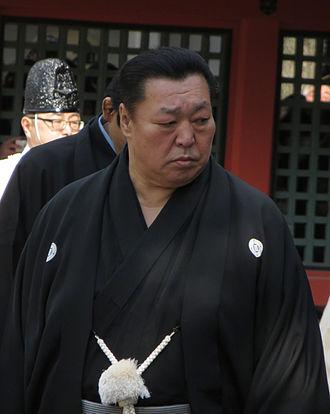 Haori - Kitanoumi Toshimitsu wearing a montsuki haori