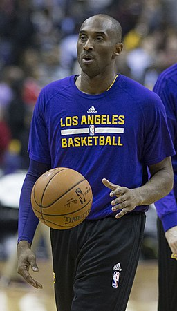 Kobe Bryant warming up