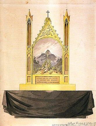 Cross in the Mountains - Image: Kreuz mit Regenbogen