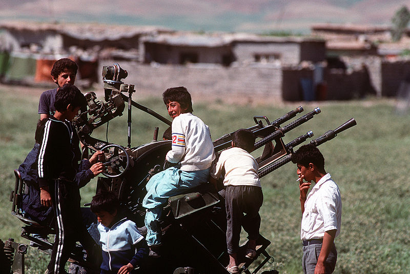 File:Kurdish children play on a Soviet-built ZPU-4 in 1991.JPEG
