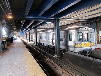 East New York station - Westbound LIRR train at East New York station in 2017