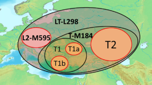 Haplogroup LT - The modern distribution of major subclades of haplogroups L and T in Europe.