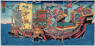 Elixir of life - Xu Fu's first expedition to the Mount of the immortals. By Utagawa Kuniyoshi.